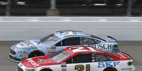 Ryan Blaney and Kevin Harvick had a heated conversation on pit road after the First Data 500 at Martinsville.
