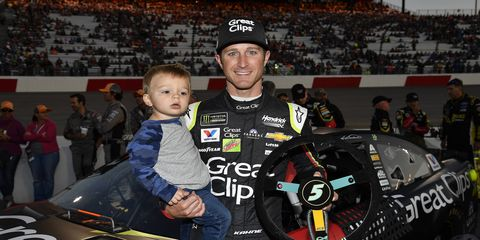 Kasey Kahne and son Tanner last weekend at Richmond Raceway.