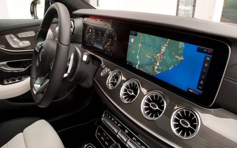 Inside the 2018 Mercedes-Benz E-Class Coupe. The 3.0-liter turbocharged E400 model goes on sale in the United States summer 2017; additional performance variants may follow.