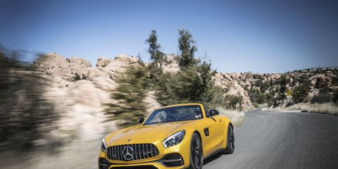 The 2018 Mercedes AMG GT convertible sprints to 60 mph in 3.7 seconds.