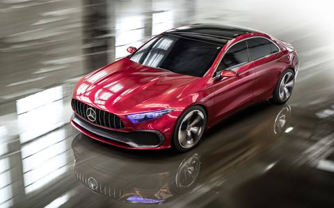 The Concept A follows Mercedes recent concepts with its red hue and Panamericana-style grille.