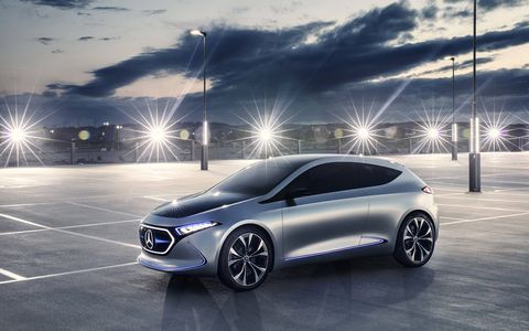 Mercedes-Benz previewed an electric hatchback at the 2017 Frankfurt motor show, one of the first models that Mercedes plans to offer as part of its EQ electric sub-brand.