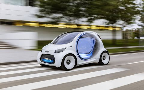 smart has been contemplating the future lately and has come to the conclusion that the future will need smart cars. This forward-looking transportation concept, which will be shown at Frankfurt, is autonomous, connected and electric. Look for cars like this on city streets near you starting in  2030 and beyond. Maybe.