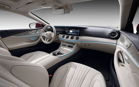 The 2019 Mercedes-Benz CLS comes standard with a 12.3-inch screen, keyless entry and start, smartphone integration and 64 colors of ambient lighting.