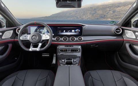 The 53-series of cars will come with AMG cues like the widescreen display, leather and piano black trim, and carbon fiber.