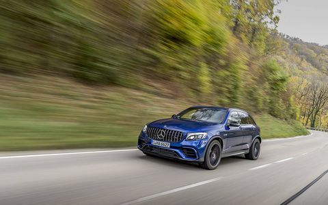 The new 2018 Mercedes AMG GLC63 performance SUV packs up to 510 hp under the hood of a compact utility.