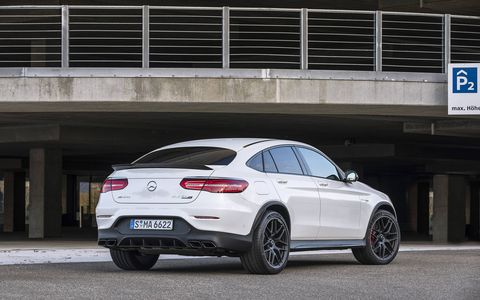 The 2018 Mercedes AMG GLC63 SUV also comes in a less useful fastback coupe bodystyle.
