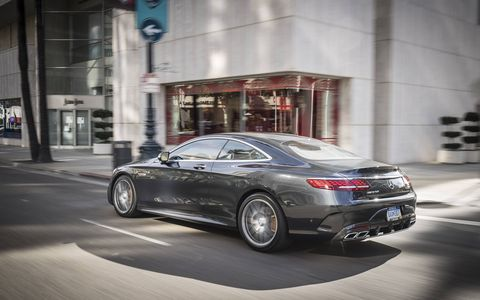 The Mercedes-Benz AMG S63 rockets to 60 mph from a stop because of its 4.0-liter twin-turbocharged V8, nine-speed MCT automatic and an all-wheel-drive system.
