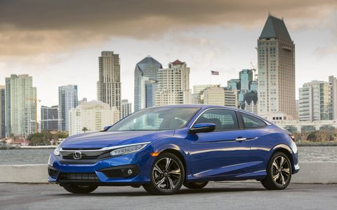 The 2017 Civic coupe is available in three powertrain configurations: a 174-hp 1.5-liter DOHC turbo engine with a CVT, a 158-hp 2.0-liter i-VTEC paired with a CVT (LX and LX-P) and the same 2.0-liter engine with a six-speed manual transmission (on LX trim).