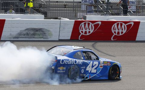Kyle Larson won the Xfinity Series race and paced final MENCS practice with a lap at 119.074 mph Saturday at Richmond International Raceway.