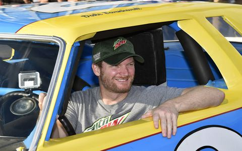 Dale Earnhardt Jr. gets his dad's car at Talladega Superspeedway, Friday Oct. 13, 2017.