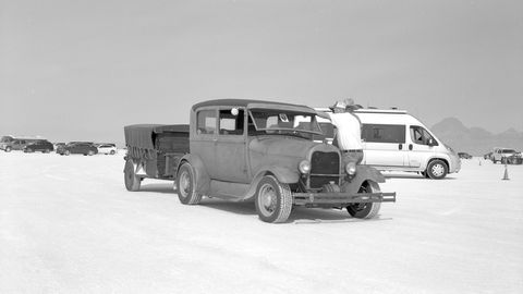 Ford Model A truck pit vehicle and trailer. Photographed with 1910 Ansco Buster Brown No. 2 Folding camera, Ilford Delta 100 film.