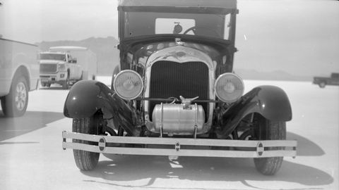 Ford Model A pit vehicle at Speed Week. Photographed with 1916 Gauthier camera, Kodak T-Max 100 film.
