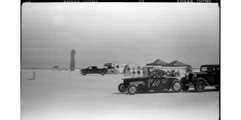 The Fast Four Special Dodge went 108.006 mph on this run. Photographed with 1916 Gauthier camera, Kodak T-Max 100 film.