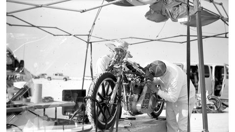 The Mangold Motorworks 1947 Triumph gets some work in the pits on Sunday morning. Photographed with 1900 No. 3 Pocket Folding Kodak camera, Rollei RPX 25 film.