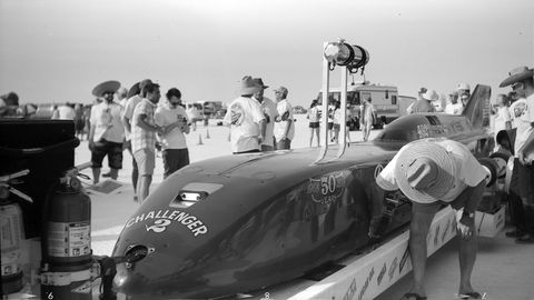 Danny Thompson's Challenger II, preparing for inspection after running 450.9 mph on Sunday. Photographed with 1900 No. 3 Pocket Folding Kodak camera, Rollei RPX 25 film.