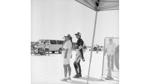 Official and racer at starting line. Photographed with 1958 Yashica-44 camera, Rera Pan 100 film.