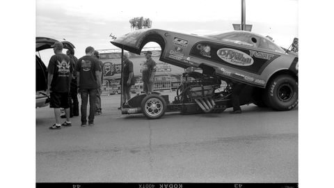 Jeff Diehl's Funny Car is sponsored by the band RATT. Who else can say that? Photographed with 1910 Ansco Buster Brown No. 2 Folding camera, Kodak Tri-X film.