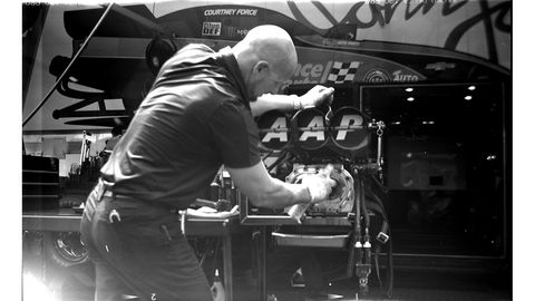 Courtney Force's supercharger gets some work. Photographed with 1916 Ansco Buster Brown No. 3 box camera.