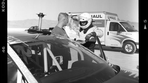 German journalist Gregor Messer prepares to drive the Jetta LSR car.