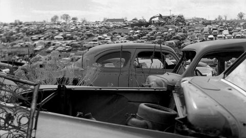 Hundreds of Ford, GM, Chrysler, Studebaker, Hudson and Nash cars and trucks at Martin Supply in Colorado.