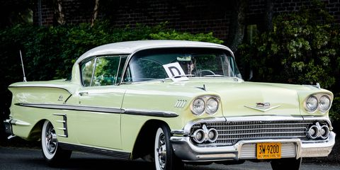 The owner of this 1958 Chevrolet Impala gets bonus points for plate/car coordination, but a 1958 New York plate is pretty easy to find and restore. Some owners aren't so lucky.