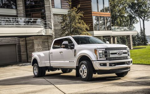 The 2018 Ford F-Series Super Duty Limited pickups are leather-clad swanky tow rigs.