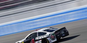 Kevin Harvick's rear window drooped at speed on Sunday at Las Vegas.