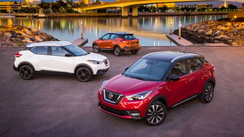 The 2018 Nissan Kicks comes with a 1.6-liter I4 and a continuously variable transmission.