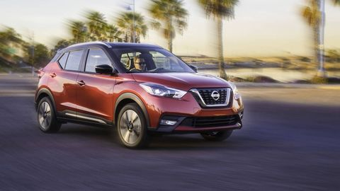 NISSAN KICKS --The Kicks (31/36/33 mpg) can carry a lot of stuff. Nissan's small SUV can swallow a best-in-class 25.3 cubic feet of cargo with the back seat in place. Fold the seat down and there's 53.1 cubic feet in total. On paper and in practice, the Kicks' 125-hp four-cylinder engine won't excite anyone. This isn't a quick machine, though it's not painfully slow. The throttle is tuned so the car feels zippy off the line, making this an enjoyable driver at a relaxed pace.
