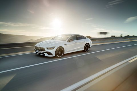 The 2019 Mercedes-AMG GT Four-Door Coupe comes with either a 429-hp I6, a 577-hp V8 or a 630-hp V8. All get nine-speed transmissions.
