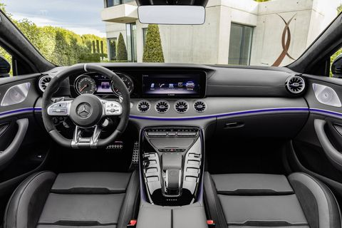 Two high-resolution displays, each measuring 12.3 inches, dominate the Widescreen Cockpit, which is standard on all 2019 Mercedes-AMG GT Four-Door Coupe variants in the U.S. market. Three different display styles are available: classic, sport and the new supersport.