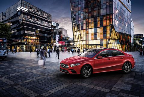 The A-Class L, a stretched version of the upcoming A-Class sedan, debuted at the Beijing auto show.