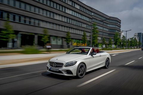 The 2019 Mercedes-Benz C300 cabriolet looks good with the top up, great with it down. The fabric top raises and lowers quickly, stowing itself beneath a pop-up hatch just ahead of the trunk.