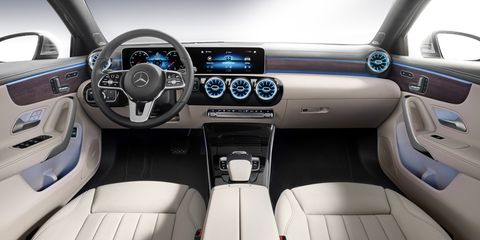 """The 2019 Mercedes-Benz A-Class debuts a new multimedia system the company says is a """"new era for connectivity."""" Mercedes calls it MBUX."""