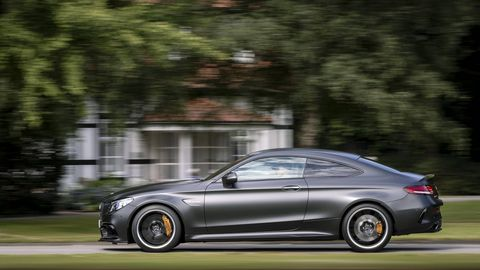 The Mercedes-AMG C 63 gets a mid-cycle facelift along with a SPEEDSHIFT MCT 9G nine-speed automatic transmission, electronically controlled rear-axle differential, and nine-stage AMG traction control (the latter in the C 63 S) . This is the coupe. We in the U.S. also get a sedan and a cabriolet. The Europeans get a wagon. Or vah-gun.