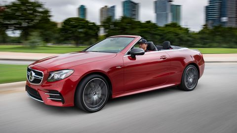 The 2019 Mercedes-AMG E 53 Cabriolet gets the company's new twin-turbo I6 making 429 hp with a nine-speed automatic.