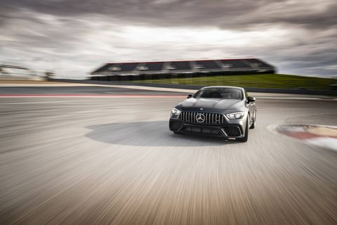The 2019 Mercedes-AMG GT63 S has a twin-turbo 4.0-liter V8 under the hood making 630 hp and 664 lb-ft of torque.
