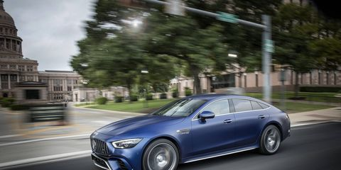 Mercedes offers black and blue matte paint jobs for the 2019 AMG GT 4-door coupe