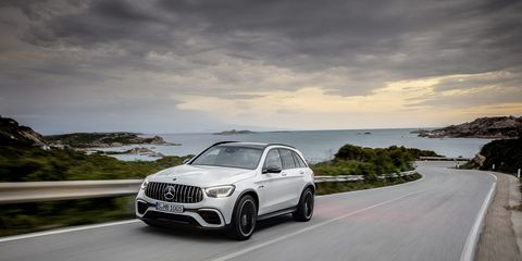 The 2020 Mercedes-AMG GLC 63 is shown with a light refresh at the New York auto show.