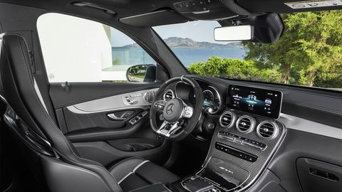 The Mercedes-AMG GLC 63 crossover's interior gets some noted improvements -- such as the updated infotainment MBUX infotainment system.