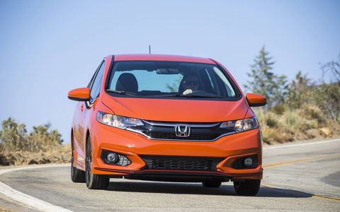 The 2018 Honda Fit Sport has a 1.5-liter I4 producing 130 hp and 114 lb-ft of torque.