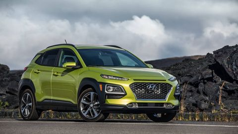 HYUNDAI KONA --Take the space efficiency of a Honda HR-V and the lightweight flingability of a Mazda and you've got a good idea what the Hyundai Kona is like to live with. The 1.6-liter turbo engine's robust kick and relatively taut suspension make the Kona feel playful. It's a fun car the same way a Mazda CX-5 can be a joy to throw around -- slow-car-fast style. If you're buying a Kona with an eye toward occasional track days, Hyundai's fledgling N division may have something in the works.