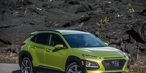 The 2018 Hyundai Kona small crossover is all-new this year; it's powered by a choice of 1.6-liter turbo I4 or 2-liter naturally aspirated I4, with FWD and AWD models available.