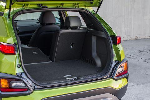 The 2018 Hyundai Kona has 19.2 cu ft of rear cargo space, plus 60/40 split folding rear seats.