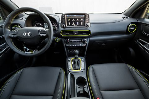 An 8-inch touchscreen with nav is standard on the 2018 Hyundai Kona Ultimate; a 7-inch touchscreen is standard on lower trim levels.