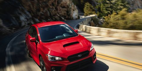 The 2018 Subaru WRX has a 268 hp boxer four-cylinder engine and offers Recaro seats as an option for 2018.