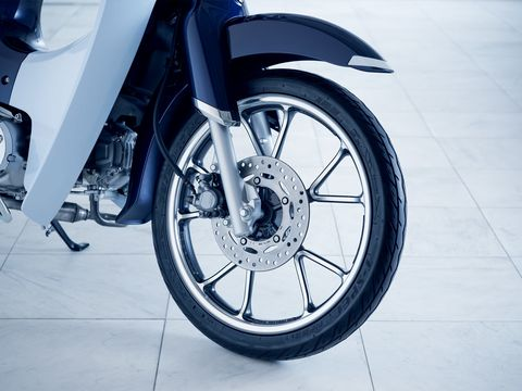 Front-wheel Anti-Lock Braking System comes standard on the Super Cub.