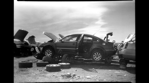 White, Crash, Vehicle, Car, Collision, Event, Monochrome, Black-and-white, Photography, Compact car,