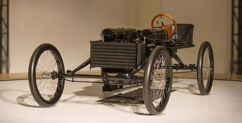 A replica of the 1902 Oldsmobile Pirate Beach Racer. Looks equal parts fun and terrifying.